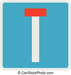 Road deadlock icon, flat style. - Road deadlock icon. Flat...