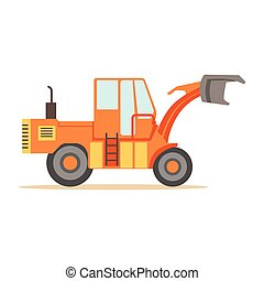 Road Digger Truck Machine , Part Of Roadworks And Construction Site Series Of Vector Illustrations