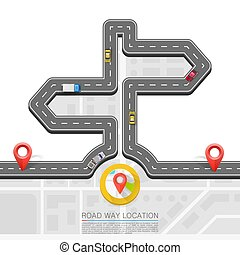 Road direction, Paved path on the road, Direction location road, Road arrow point, Vector background