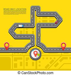 Road direction. Paved path on the road. Vector background