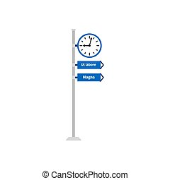 Road direction sign with clock