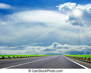road - route on background of the celestial landscape
