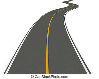Road - 3D rendered Illustration. Isolated on white.