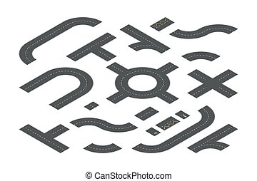 Road elements isometric 3D vector illustrations set