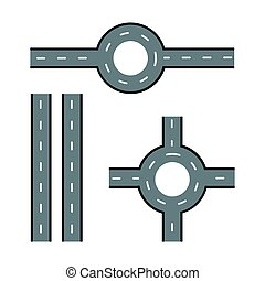 Road elements. Streets and roads set. Trendy flat style for graphic design, web-site. Stock Vector illustration.