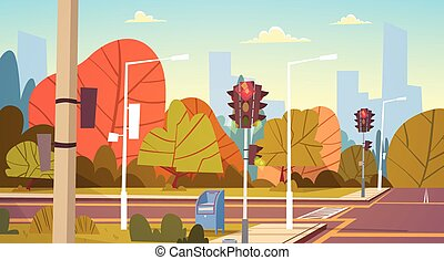 Road Empty City Street With Traffic Lights Flat Vector...