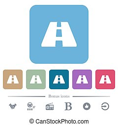 Road flat icons on color rounded square backgrounds