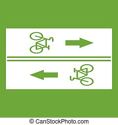 Road for cyclists icon green