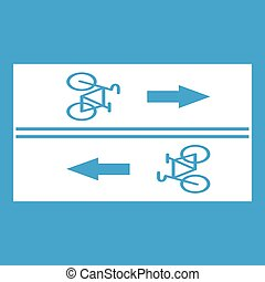 Road for cyclists icon white