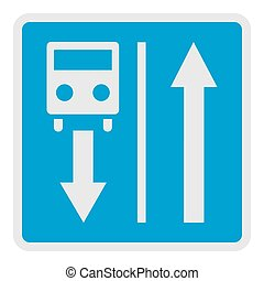 Road for route transport icon, flat style.