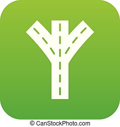 Road fork icon green vector