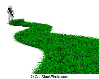 road from grass on white. Isolated 3D image