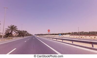 Road from Oasis Liwa to the Abu Dhabi stock footage video -...