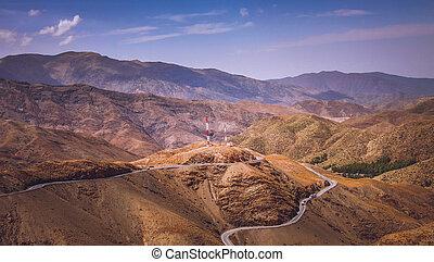 Road from Ouarzazate to Marrakesh through Atlas mountains