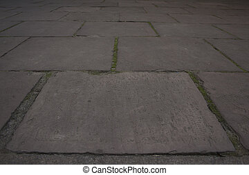 road from the concrete tiles