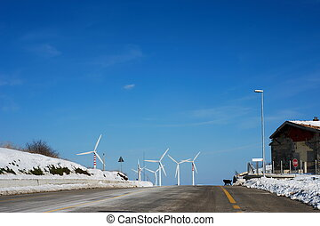 Road going to wind turbines