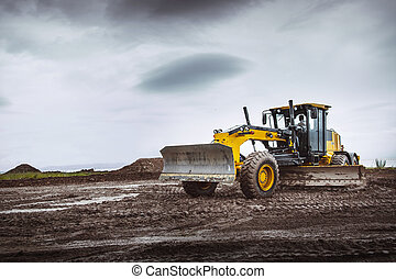 Road grader - heavy earth moving dirty - Road grader - heavy...