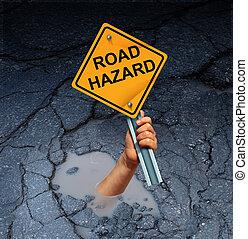 Road Hazard Concept - Road hazard concept as an accident...
