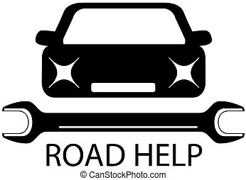 road help sign with black car