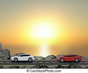 Road, highway along a dam against a beautiful sunset. Traveling by car. illustration