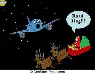 Road Hog Santa - Christmas cartoon about Santa's sleigh...