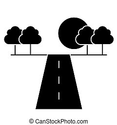 road horizont  icon, vector illustration, sign on isolated background
