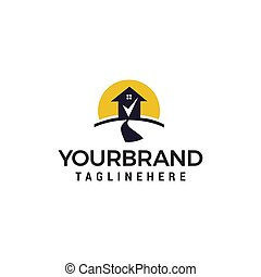 Road house check mark logo design concept template vector