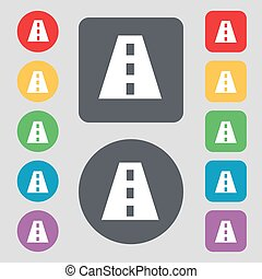 Road icon sign. A set of 12 colored buttons. Flat design. Vector