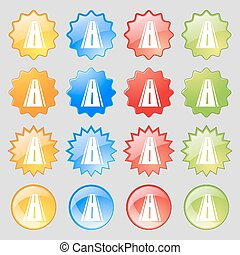 Road icon sign. Big set of 16 colorful modern buttons for your design. Vector
