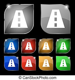 Road icon sign. Set of ten colorful buttons with glare. Vector