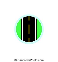 Road icon vector sign, round symbol with highway