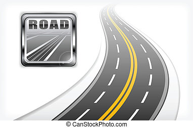 square road icon with text and long highway, vector illustration