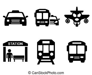 road icons with transport silhouette