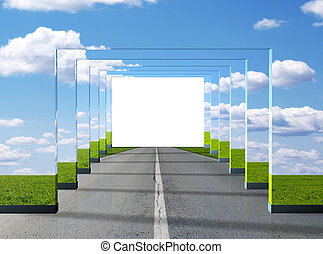 Road illusion - 3d render illustration
