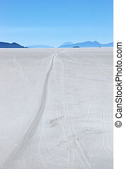 Road in a Salt desert