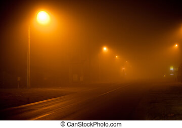 Road in a very foggy night - Road at night with extremely ...