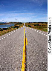 Road in Canada - Straight prairie road in Alberta, Canada....
