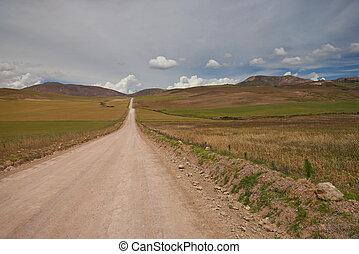 Road in field hills