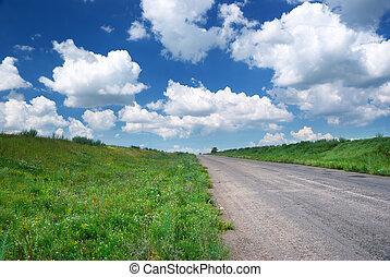 Road in green meadow