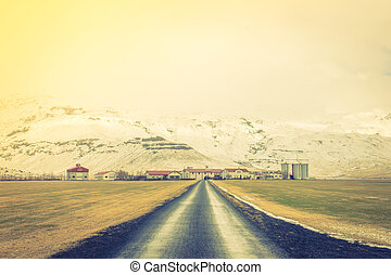 Road in Iceland, winter season . ( Filtered image processed vintage effect. )