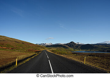 Road in Iceland with Mountain View