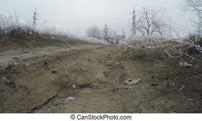 Road in industrial area