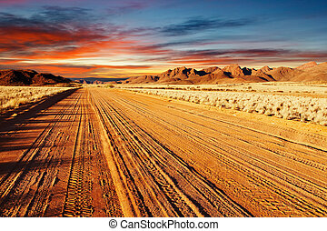 Kalahari Desert, Namibia - Road in Kalahari Desert, Namibia