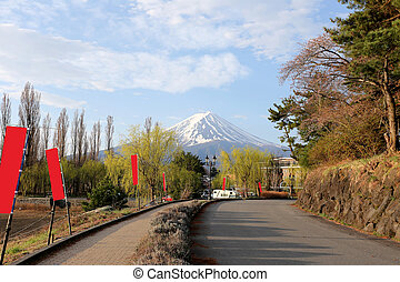 Road in Kawaguchiko park and fine weather morning. - Road in...