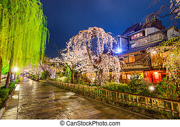 Road in Kyoto - Kyoto, Japan at the historic Gion District ...