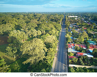 Road in latin america landscape aerial drone view