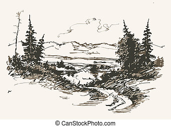 road in mountains - Black and white hand drawn landscape. ...