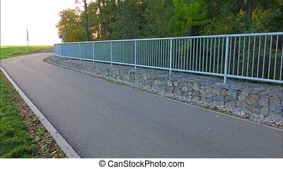 Road in nature and railings