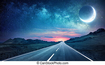Road In Night - With Half Moon And Milky Way