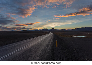 Road in north Iceland. Sunset